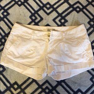 American Eagle stretch white jean shorts